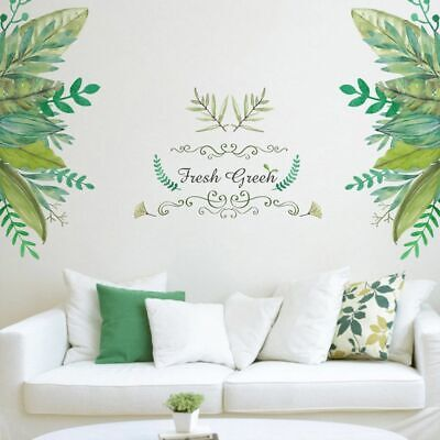 Tropical Leaves Green Plant Wall Stickers Living Room Art Mural Decal Home Decor • 4.60£