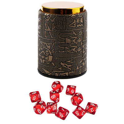 AU10.34 • Buy 10pcs Red Ten Sided D10 Dice With 1 Dice Cup For D&D RPG Party Board Games