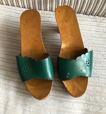 1960's Vintage Wooden Handmade Italian Ladies Heeled SHOES Size 5 Green Leather. • 11.99£