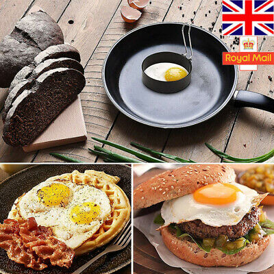 1/2X Set Metal Egg Frying Rings Circle Round Fried/Poach Mould+Handle Non Stick • 3.69£