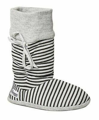 £21.68 • Buy Womens Grosby Hoodies Boots Grey/Black Stripes Slippers - Size S M L Xl