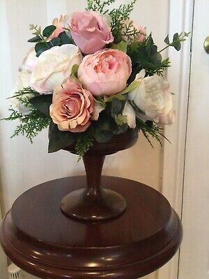 Large Silk Faux Flower Arrangement Wooden Mahogany Bowl Peony Roses Artificial • 39.99£