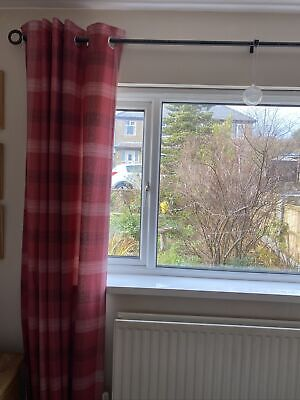 Next Red Check Eyelet Curtains Lined.66 W X90  L- 168 X 229cm. • 8£