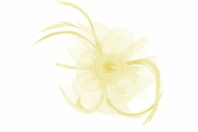Cream White Fascinator With Sinamay Flower And Feather Tendrils On Alice Hair... • 7.95£