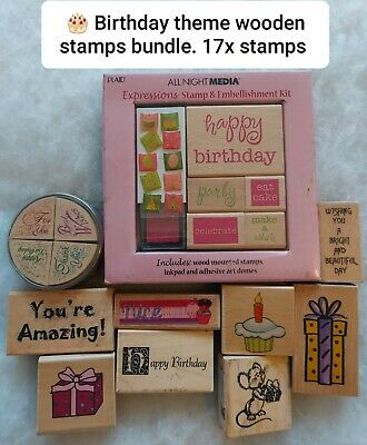 🎂 Birthday Crafting Stamps Bundle, 17 X Stamps (storage Clear Out)  • 13£
