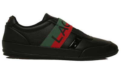 Lacoste Misano Elastic 1201 U Cma Blk/red Leather/synthetic Mens Shoes • 78.67£