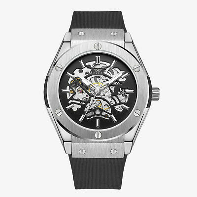 £39.99 • Buy Exec Men's Automatic Self Wind Silver Watch 42mm Mechanical Skeleton Timepiece