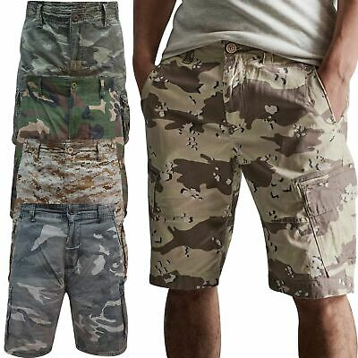 AIRWALK Mens Army Cargo Combat Camouflage Shorts Cotton Chino Half Pant Camo • 11.99£