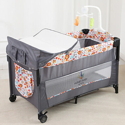 Portable Next To Me Baby Bedside Crib Travel Cot Sleeper With Mattress Playpen • 75£