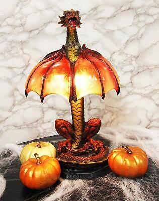 Altar Drake Red Ember Dragon Building Fire With Its Wings Side Table Lamp Statue • 90.33£