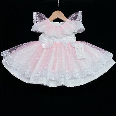 £39.99 • Buy Gorgeous Wee Me Baby Girl Pink Puff Ball Dress Lace Collar Romany