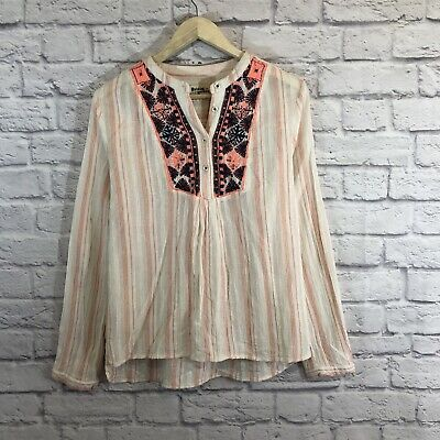 $ CDN38.21 • Buy Anthropologie Holding Horses Large Top Blouse Embroidered Shirt Womens READ