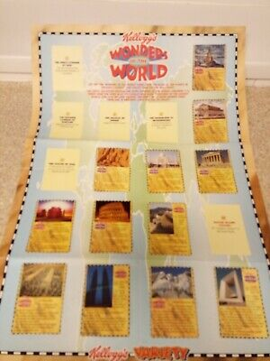 Kellogg's Wonders Of The World Wallchart  & Cards. Incomplete. • 1£