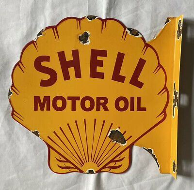 """$ CDN286.74 • Buy Vintage Flanged Shell Double Sided 19"""" Porcelain Sign Car Gas Oil Truck"""
