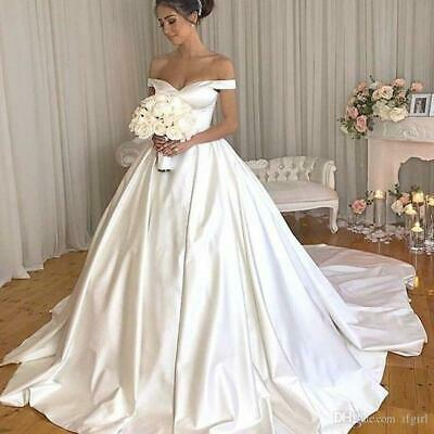 $ CDN151.91 • Buy White Ivory Off Shoulder Wedding Dresses Ball Gown Buttons Back Custom Size 2-26