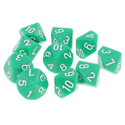 AU8.95 • Buy 10X 10 Sided Dice D10 Acrylic Dice For  Dice Game Green