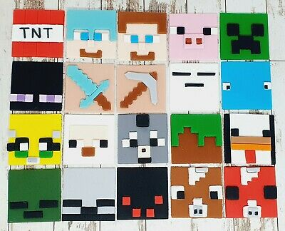 AU15 • Buy Edible Fondant Minecraft Cupcake Toppers Any 6   (4.5cm) TNT Steve Creeper Cow!