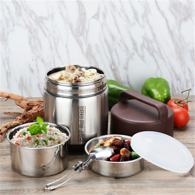 AU74.01 • Buy Vacuum Insulated Lunch Box Stainless Steel 3 Tier Jar Hot Thermos Food  UK! AU