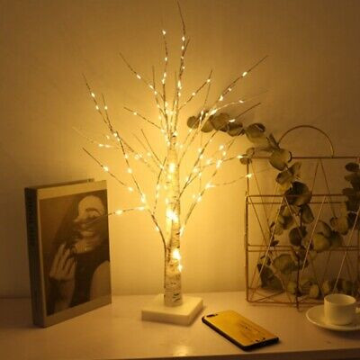 Easter Tree Decorations With Lights Led Birch Tree Light Up White Twig Tree 60cm • 10.98£