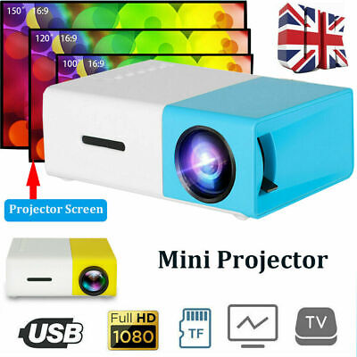 Mini Portable Projector HD 1080P Movie Video Home Theater HDMI AV SD USB • 26.99£