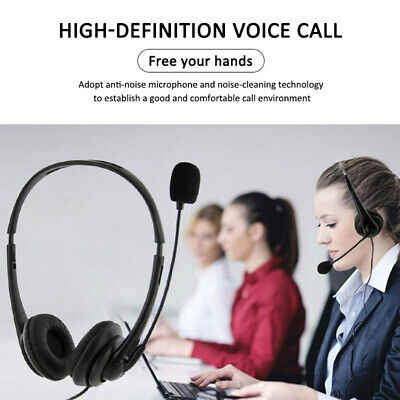 USB Computer Headset Wired Over Ear Headphones For Call Center PC Laptop Skype • 10.19£