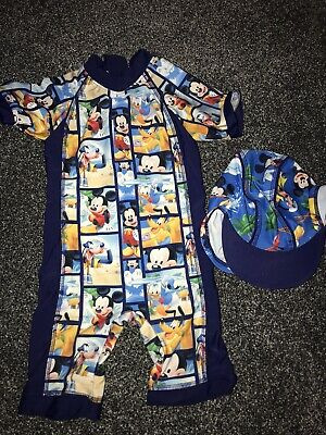 Mickey Mouse Uv Suit And Uv Hat Age 1.5-2 Years • 1£