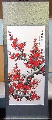 Large Hand Finished Chinese Plum Blossom Scroll Wall Hanging • 28£