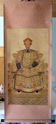 Large Hand Finished Emperor Kang Xi Oriental Chinese Scroll Wall Hanging • 28£