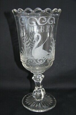 Early Victorian, Pressed, But Hand Engraved Clear Glass Celery Vase • 19.95£