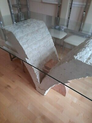 Large Glass Table With Stone Based  • 150£