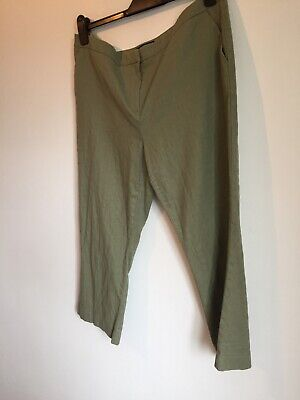 Next 💚 Khaki Olive Green Stretch Cropped Trousers Size 16 • 0.99£