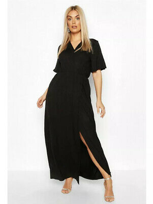 BNWT BOOHOO Black Maxi Dress Soft Material Wrap 16 Also Fit 18 Vintage Style • 2.95£