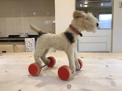 Antique Vintage Steiff Fox Terrier On Wheels,mohair Toy Foxy Dog,button,tag,bear • 325£