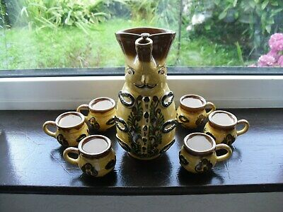 Vintage Hand Made Spanish Pottery Sangria Jug In Shape Of Person & Six Cups  • 20£