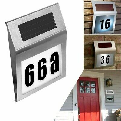 £9.69 • Buy LED Number Sign Solar Powered Light Hotel House Door Address Digits Plate Plaque