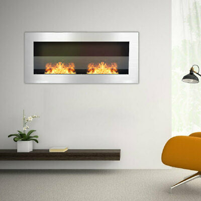 Bio Fire Ethanol Fireplace 2 Burners Stove Indoor Mounted Insert Stainless Steel • 219.95£