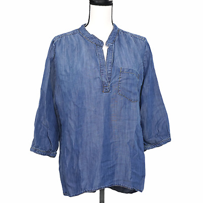 $ CDN34.22 • Buy Anthropologie Elevenses Chambray Top Size L Popover Blouse Blue Tencel Women's