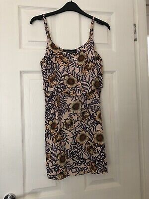 Topshop Cami Dress Floral Pattern Layered Sz 6 8 Petite Summer Holiday  • 6.99£