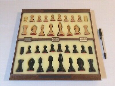 """Vintage Spanish Magnetic Chess & Draughts Set Portable 13"""" Board VGC Boxed • 14.95£"""