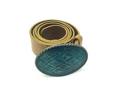 £19.99 • Buy Womens 100% Real Leather Big Buckle Belt With Blue Enamel Size L