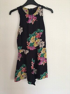 Womens Playsuit From Topshop Navy Floral Uk Size 8 Summer Holiday • 2.50£