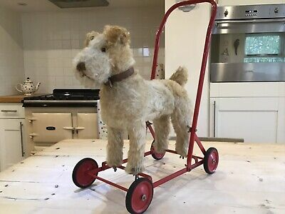 Antique Vintage Dog On Wheels,fox Terrier,push Along Toy Foxy Dog,baby Walker, • 395£