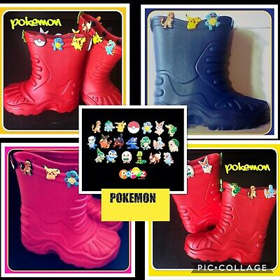 Blue Pokemon Wellies Clogs Jibbitz • 13£