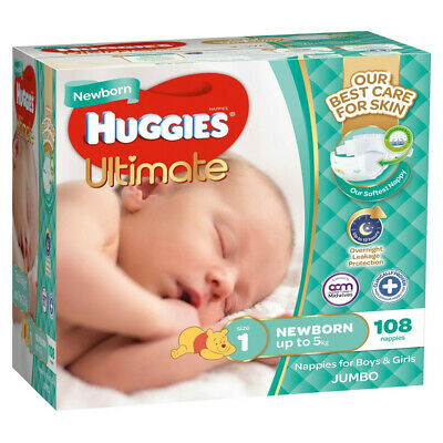 AU22.99 • Buy Huggies Ultimate Nappies Jumbo 108 Pack Newborn