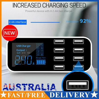 AU25.49 • Buy Fast Charging Car USB Wall Charger Station Desktop Hub 8-Port LED Display AU