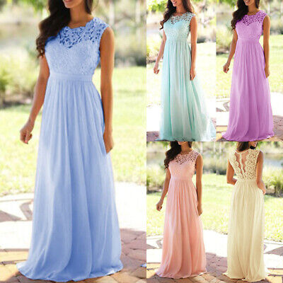 £19.99 • Buy Womens Chiffon Lace Formal Evening Party Gown Prom Bridesmaid Wedding Long Dress