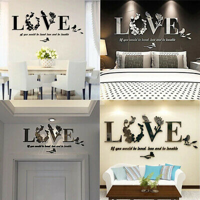 Leaf LOVE Wall Art Quotes Vinyl Wall Sticker, DIY Home Wall Decal Bedroom Decor • 3.99£