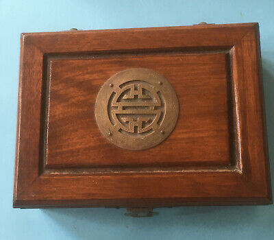 Vintage Art Deco Style Solid Wood Jewellery Box; Brass Detail Satin Interior • 21£