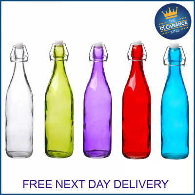 Clip Top Bottles Glass 500ml/1Litre Airtight Preserve Water Swing Top Coloured • 9.99£