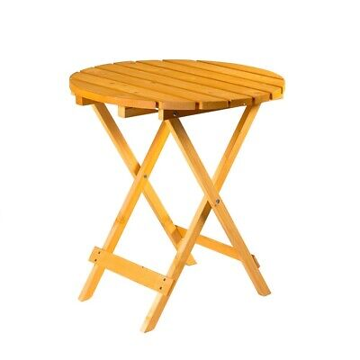 £48.99 • Buy Wooden Round Folding Garden Patio Side Table - Coffee Snack Picnic Dining Drinks